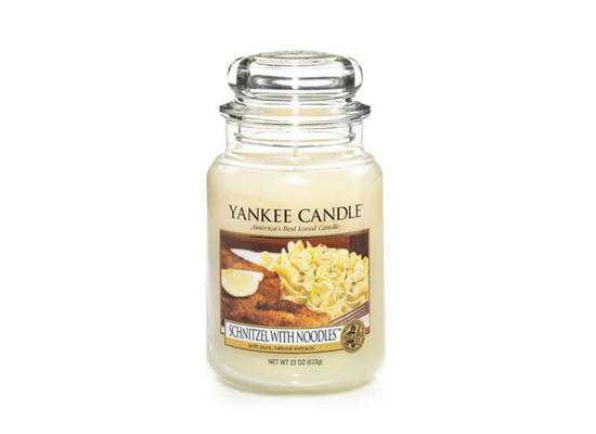 """<a href=""""http://www.amazon.com/Schnitzel-With-Noodles-Yankee-Candle/dp/B00A9BDJJO"""" target=""""_blank"""">This. Is. Real.</a>"""