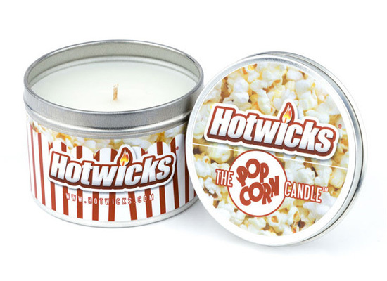 """The smell of <a href=""""http://www.hotwicks.com/collections/frontpage/products/the-popcorn-candle"""" target=""""_blank"""">freshly-made"""