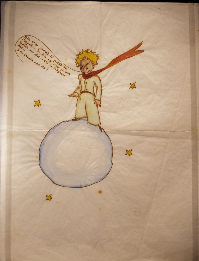 "An original drawing of ""Le Petit Prince"" (The Little Prince) is displayed as part of an exhibition to celebrate the 70th anni"