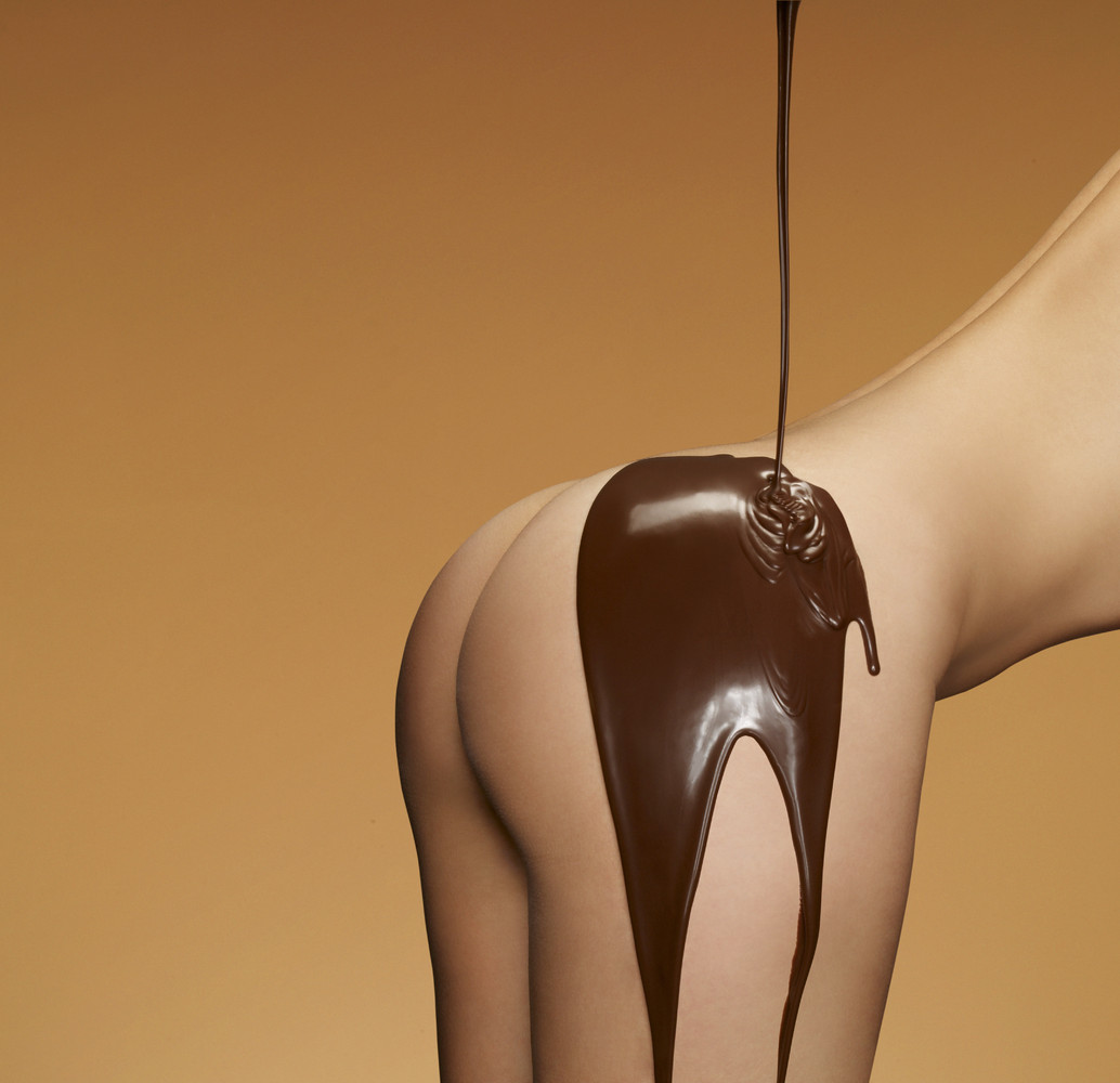 Lick chocolate woman