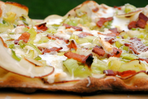 "<strong>Get the <a href=""http://bevcooks.com/2011/04/potato-leek-and-bacon-pizza/"">Potato, Leek and Bacon Pizza recipe from B"
