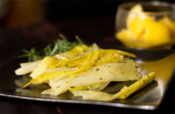 "<strong>Get the <a href=""http://mjskitchen.com/2013/10/leeks-with-preserved-lemons-tarragon/"" target=""_blank"">Leeks Braised w"