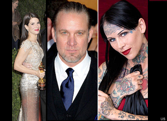 """Jesse James and Sandra Bullock split over James' relationship with tattoo model Michelle """"Bombshell"""" McGee. James and McGee w"""