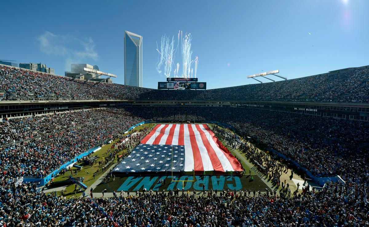 CHARLOTTE, NC - JANUARY 12: A general view during the National Anthem before the NFC Divisional Playoff Game between the San