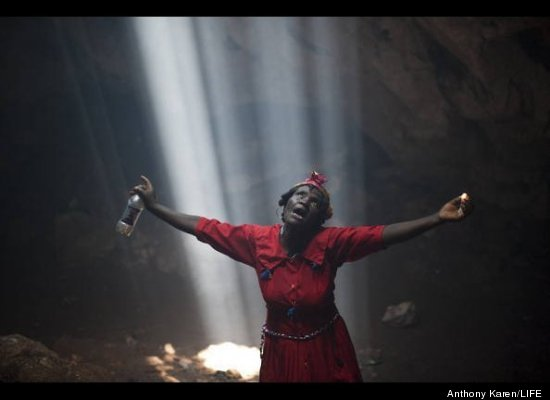 """Of Vodou's unique appeal and power Karen tells LIFE: """"It's raw, and it's primitive. The harmonious singing and rhythmic beats"""