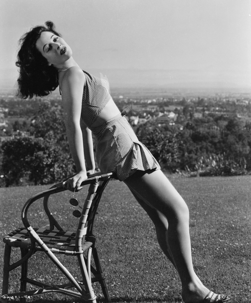 Austrian-born inventor and actress Hedy Lamarr (1913-2000) soaks up some sunshine.