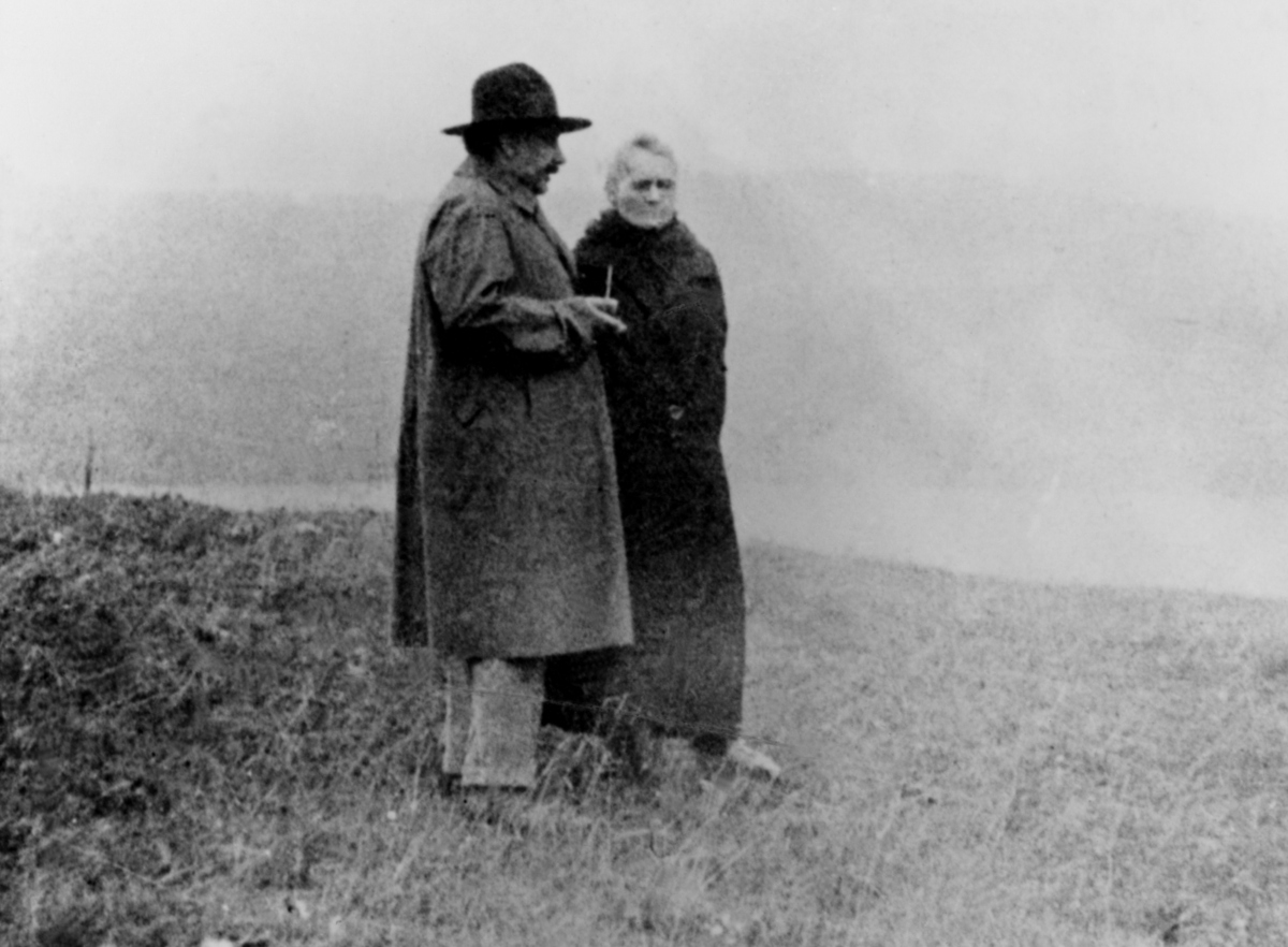 Polish-French physicist Marie Curie (1867-1934) on vacation with Albert Einstein.