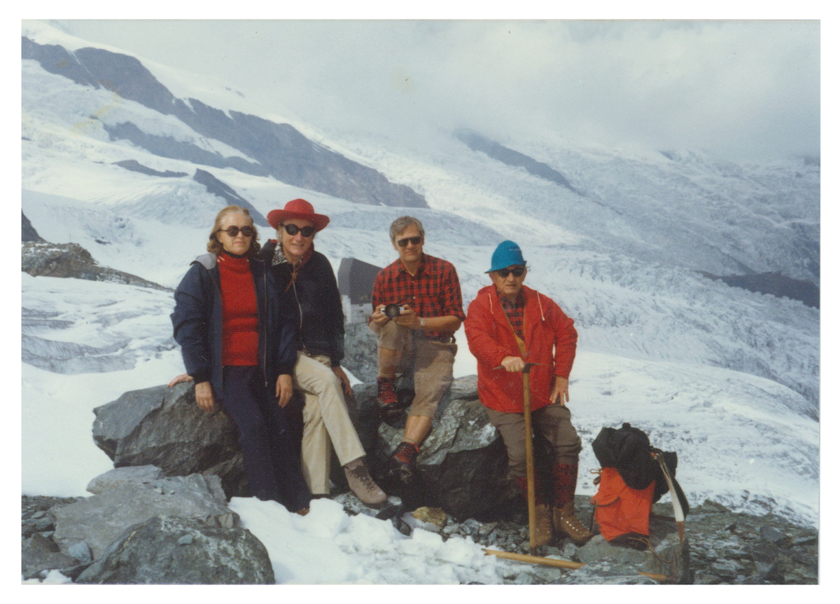 English molecular biologist Francis Crick (1916-2004) in Switzerland, second from the left.
