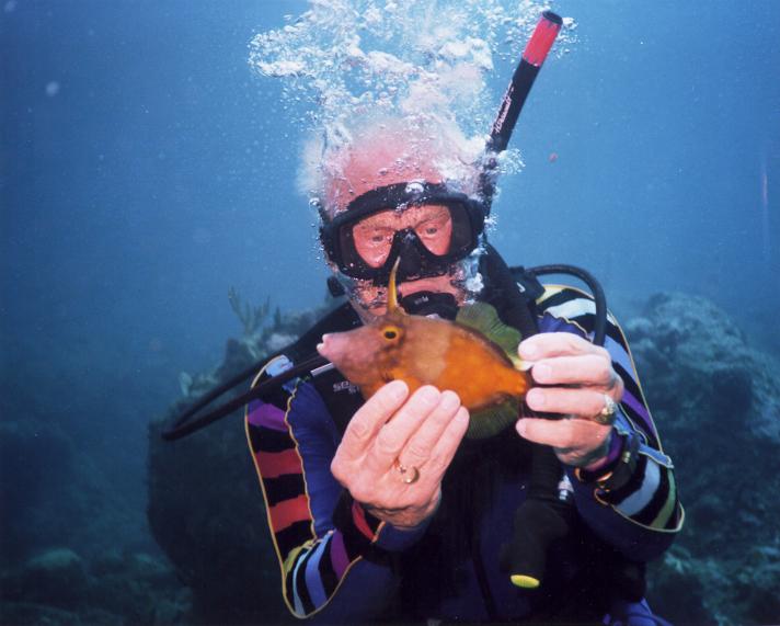 Buzz Aldrin (born 1930) at depth.