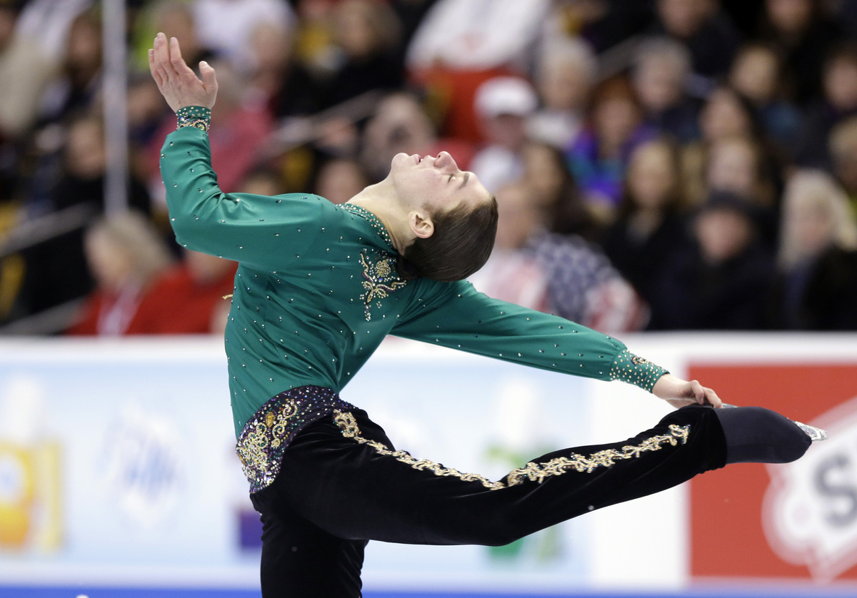 Jason Brown competes during the men's free skate at the U.S. Figure Skating Championships Sunday, Jan. 12, 2014 in Boston. (A