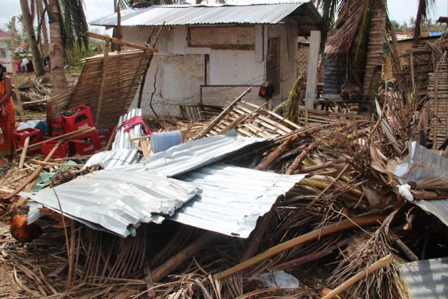The remains of Delia Moreno's house after Typhoon Haiyan tore through her village in early November.