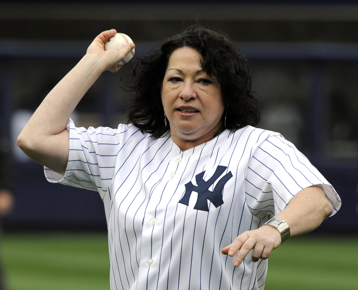 Supreme Court Justice Sonia Sotomayor throws out the ceremonial first pitch before the New York Yankees play the Boston Red S