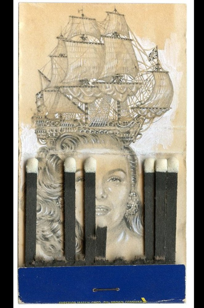 Jason D'Aquino, <em>Galleon</em>, graphite and chalk on matchbook. Courtesy Red Truck Gallery.