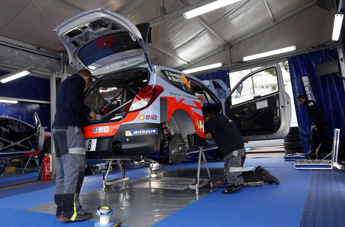 <br>Mecanics prepare the 'Hyundai Motorsport' car of Spanish driver Daniel Sordo and his Spanish co-pilot Marc Marti on Janua