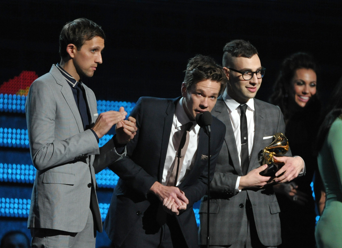 """Accepting the award for Song of the Year for """"We Are Young,"""" Fun. lead singer Nate Ruess said: """"I don't know what we were thi"""