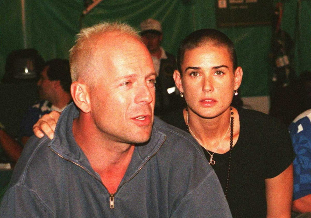 The golden couple of the 90s split in 2000 have always remained close. Bruce holidayed with Demi and her new love Ashton Kutc