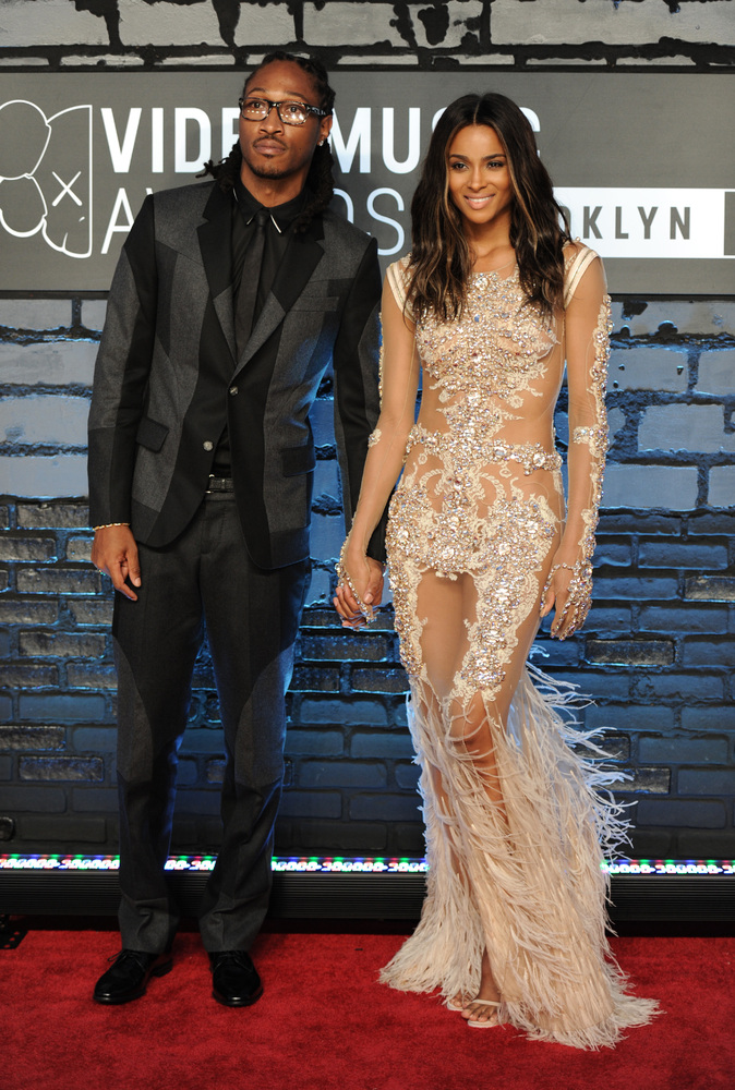 FILE - This Aug. 25, 2013 file photo shows Future, left, and Ciara at the MTV Video Music Awards at the Barclays Center in th