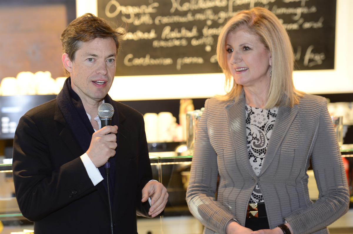 Nicolas Berggruen speaking at the WorldPost launch event in Davos with Arianna Huffington.