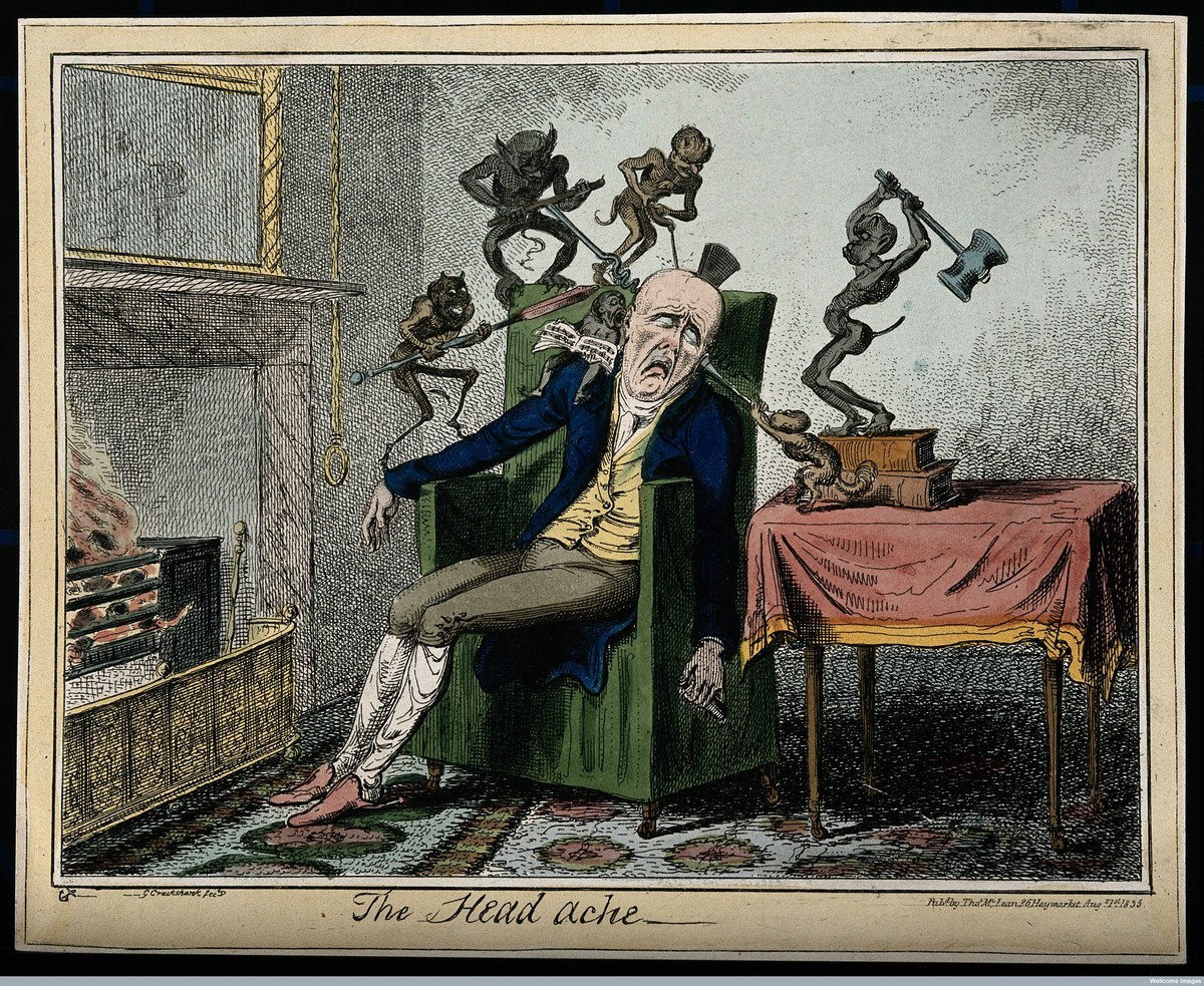 A man suffering from headache in the form of devils. Colored etching, 1835, by Frederick Marryat after George Cruikshank.