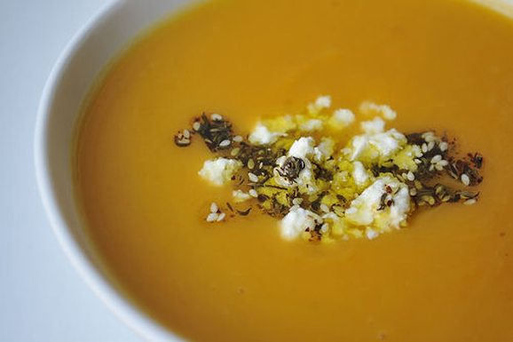"""<strong>Get the <a href=""""http://food52.com/recipes/1598-sweet-potato-soup-with-feta-and-zaatar-oil"""" target=""""_blank"""">Sweet Pot"""