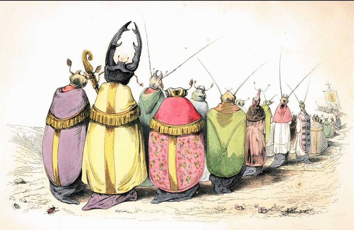 <em>Les Métamorphoses du Jour</em>, c. 1829. These insects, chanting like monks, are among the many figures Grandville saw in