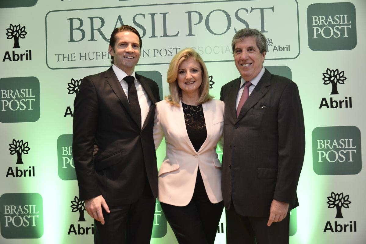 Huffington Post CEO Jimmy Maymann, Arianna Huffington and Abril Media CEO Fabio Barbosa