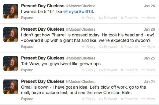 """Parody Twitter account <a href=""""https://twitter.com/ModernClueless"""" target=""""_blank"""">@ModernClueless</a> imagines Cher and com"""
