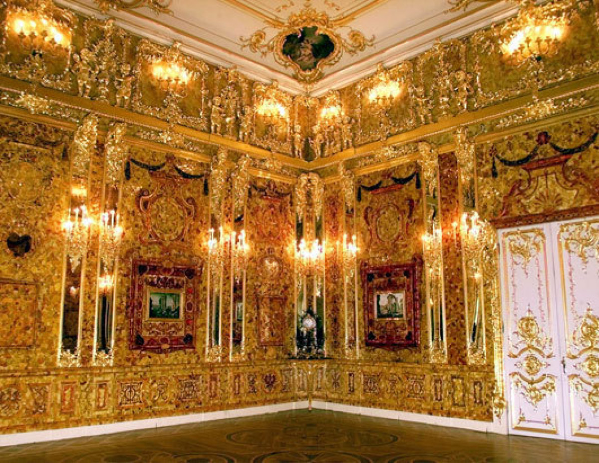 The Amber Room in the Catherine Palace.