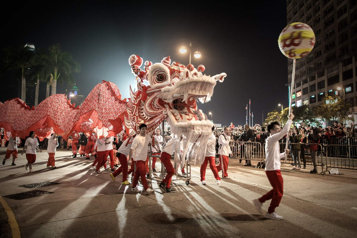 Performers display a dragon dance during a Chinese New Year parade in Hong Kong on January 31, 2014. Chinese communities acro