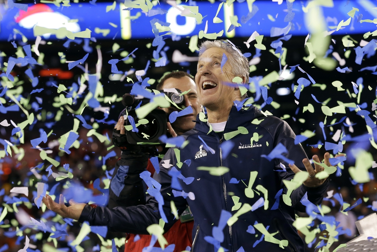 Seattle Seahawks head coach Pete Carroll celebrates after the NFL Super Bowl XLVIII football game against the Denver Broncos