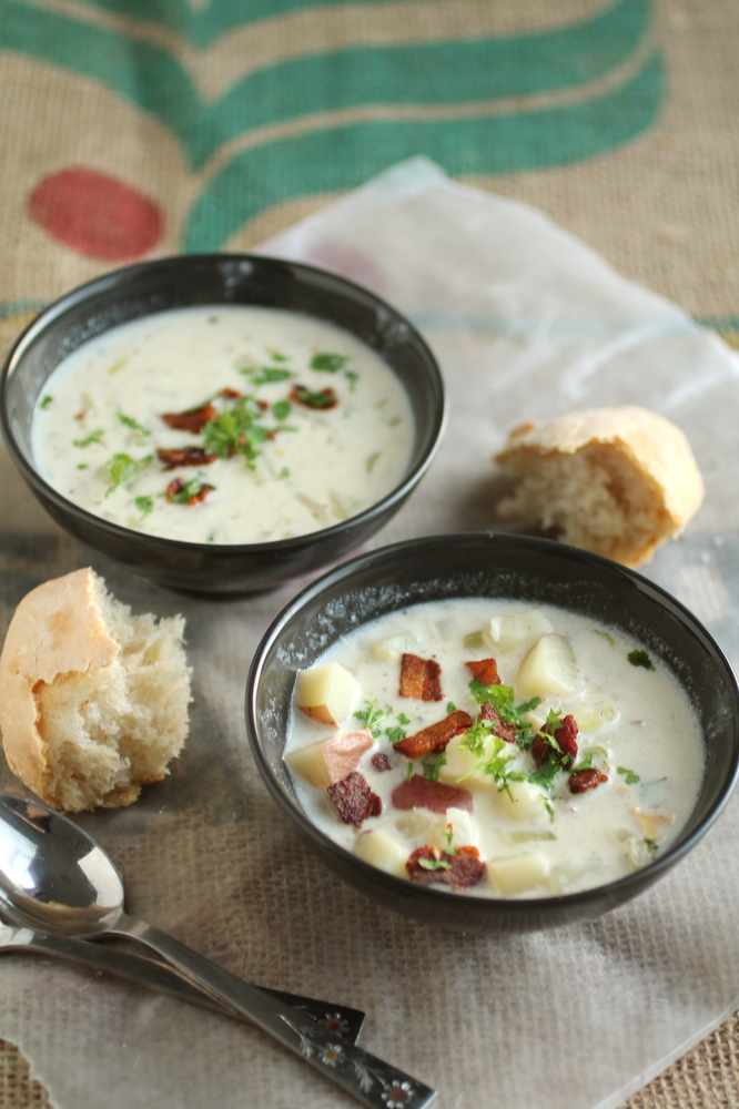 """<strong>Get the <a href=""""http://www.lifeasastrawberry.com/new-england-clam-chowder/"""">New England Clam Chowder recipe from Lif"""