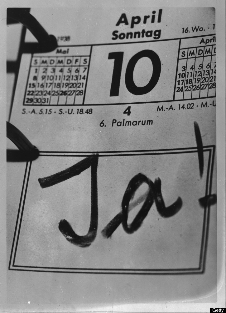 German Nazi Chancellor Adolf Hitler has written 'JA !' on his calendar on April 10, 1938 thus celebrating the success of his