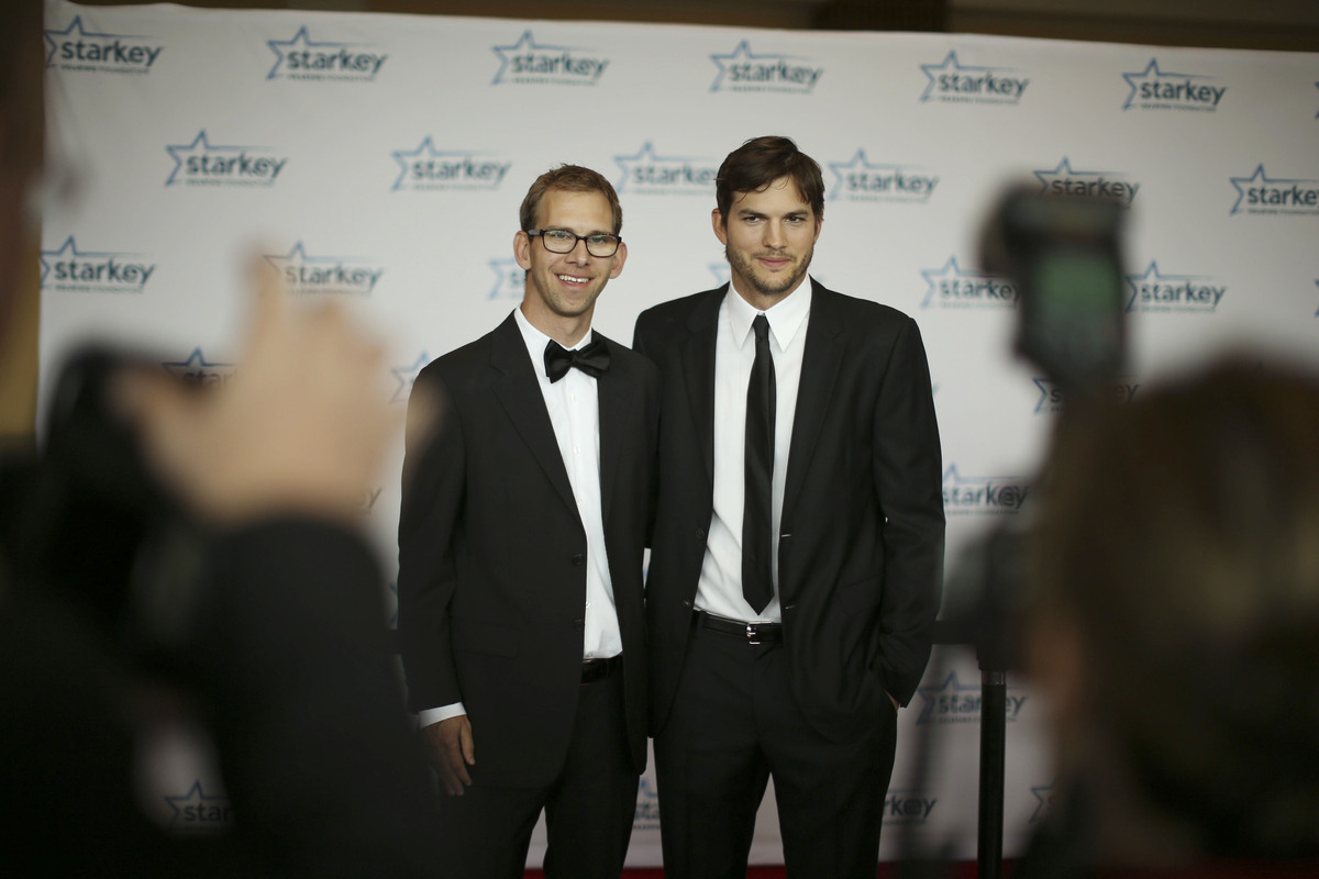 Ashton Kutcher and his twin, Michael.