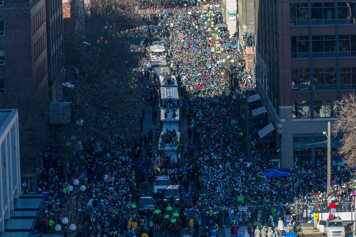 SEATTLE, WA - FEBRUARY 05:  Members of the Seattle Seahawks take part in the Seahawks' Super Bowl XLVIII Victory Parade on Fe