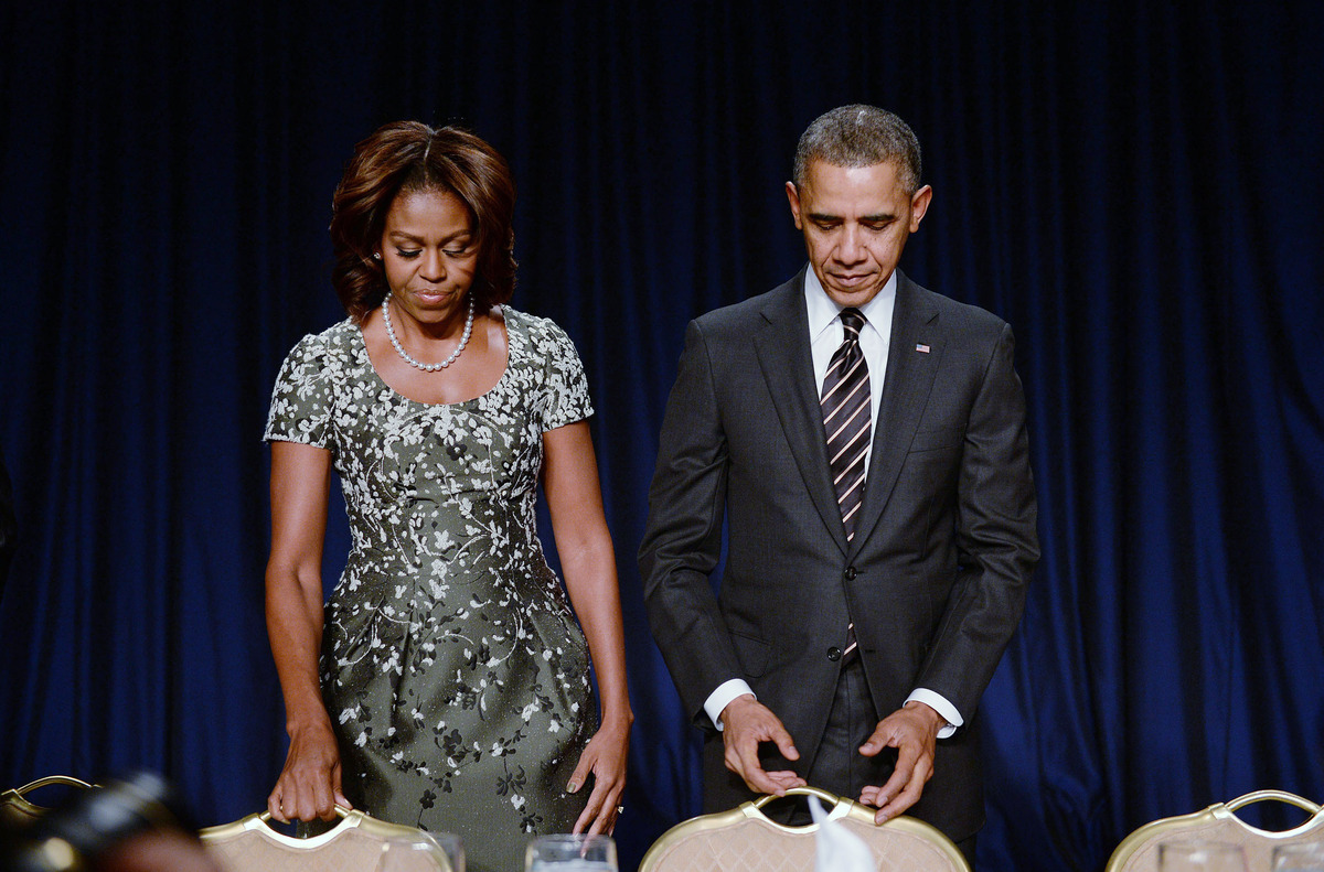 WASHINGTON, DC - FEBRUARY 6: U.S. President Barack Obama and first lady Michelle Obama attend the National Prayer Breakfast a