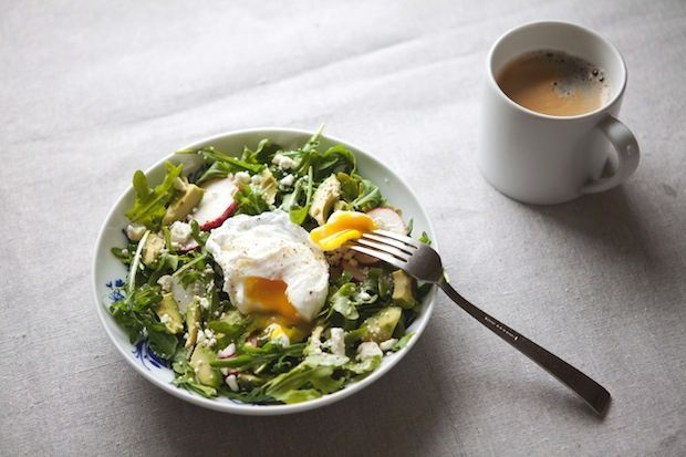 "<strong>Get the <a href=""http://food52.com/recipes/22678-arugula-avocado-and-radish-salad-with-poached-egg"" target=""_blank"">A"