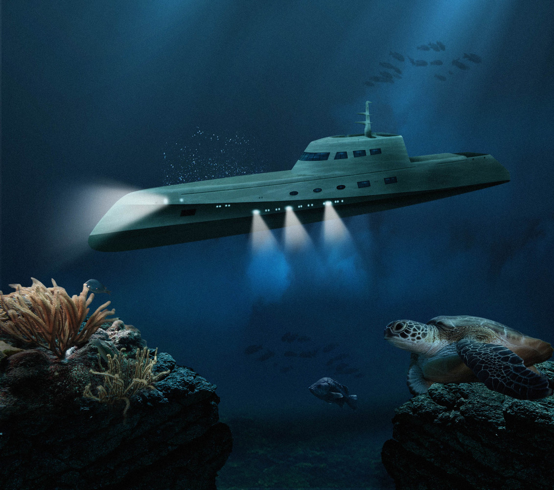A rendering of the outside of the submarine.