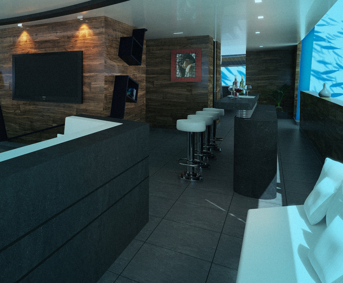 A lounge and bar on the sub.