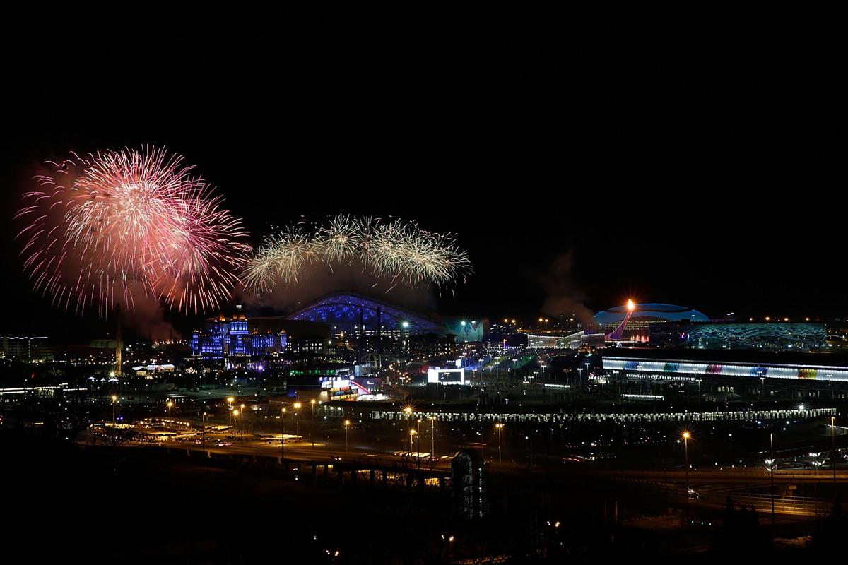 SOCHI, RUSSIA - FEBRUARY 07:  A general view of fireworks over the Olympic Park during the Opening Ceremony of the Sochi 2014