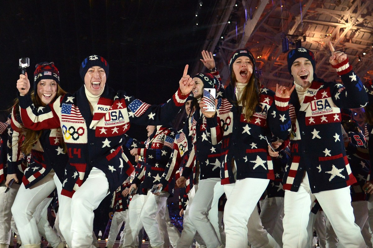 The US delegation parades during the Opening Ceremony of the 2014 Sochi Winter Olympics at the Fisht Olympic Stadium on Febru