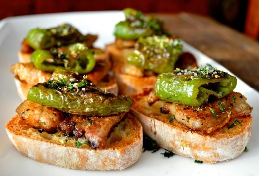 "<strong>Get the <a href=""http://thewoksoflife.com/2014/03/trio-pinchos/"" target=""_blank"">Seared Pork Belly with Green Pepper"