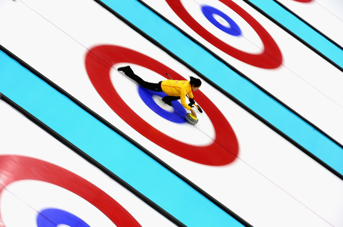 Qingshuang Yue of China during curling training on day 1 of the Sochi 2014 Winter Olympics at the Ice Cube on February 8, 201