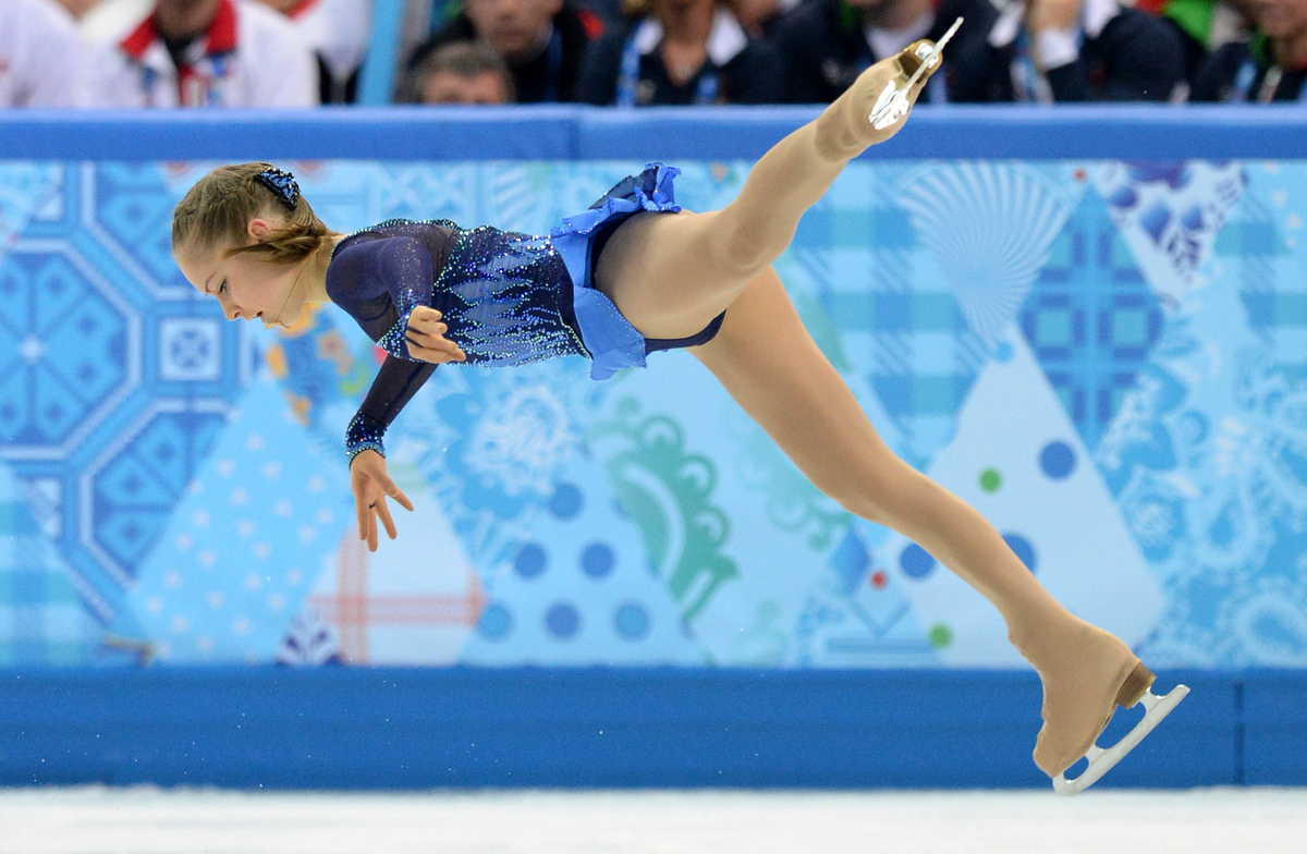 Russia's Julia Lipnitskaia performs in the Women's Figure Skating Team Short Program at the Iceberg Skating Palace during the