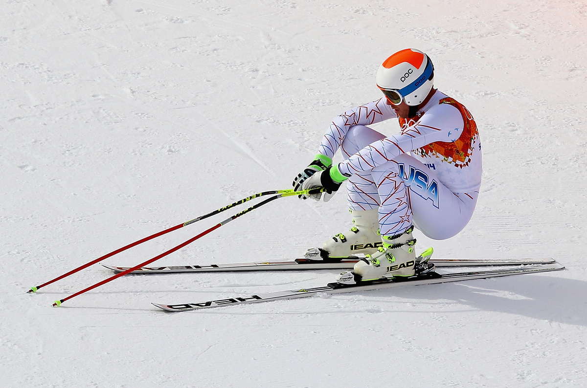 SOCHI, RUSSIA - FEBRUARY 09:  Bode Miller of the United States reacts after finishing his run during the Alpine Skiing Men's