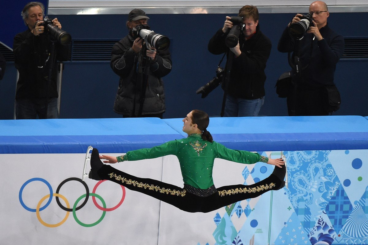 US Jason Brown performs in the Men's Figure Skating Team Free Program at the Iceberg Skating Palace during the Sochi Winter O