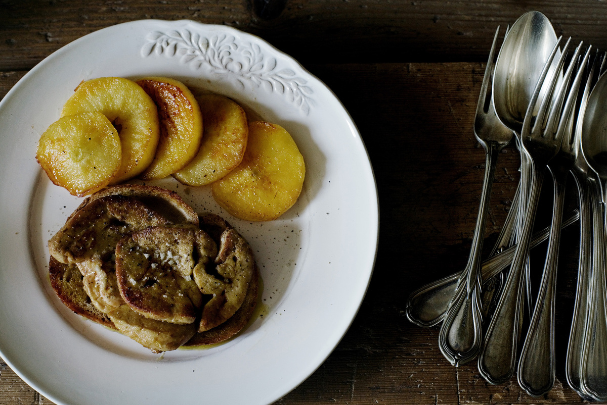 "<strong>Get the <a href=""http://mimithorisson.com/2012/09/12/dinner-for-friends/"" target=""_blank"">Pan-Fried Foie Gras recipe<"