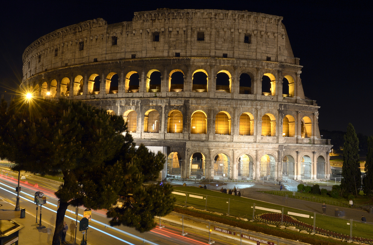 The Colosseum, built from 70-80AD, was the center for Roman gladiatorial fights and spectacles of survival. Andrews mentioned