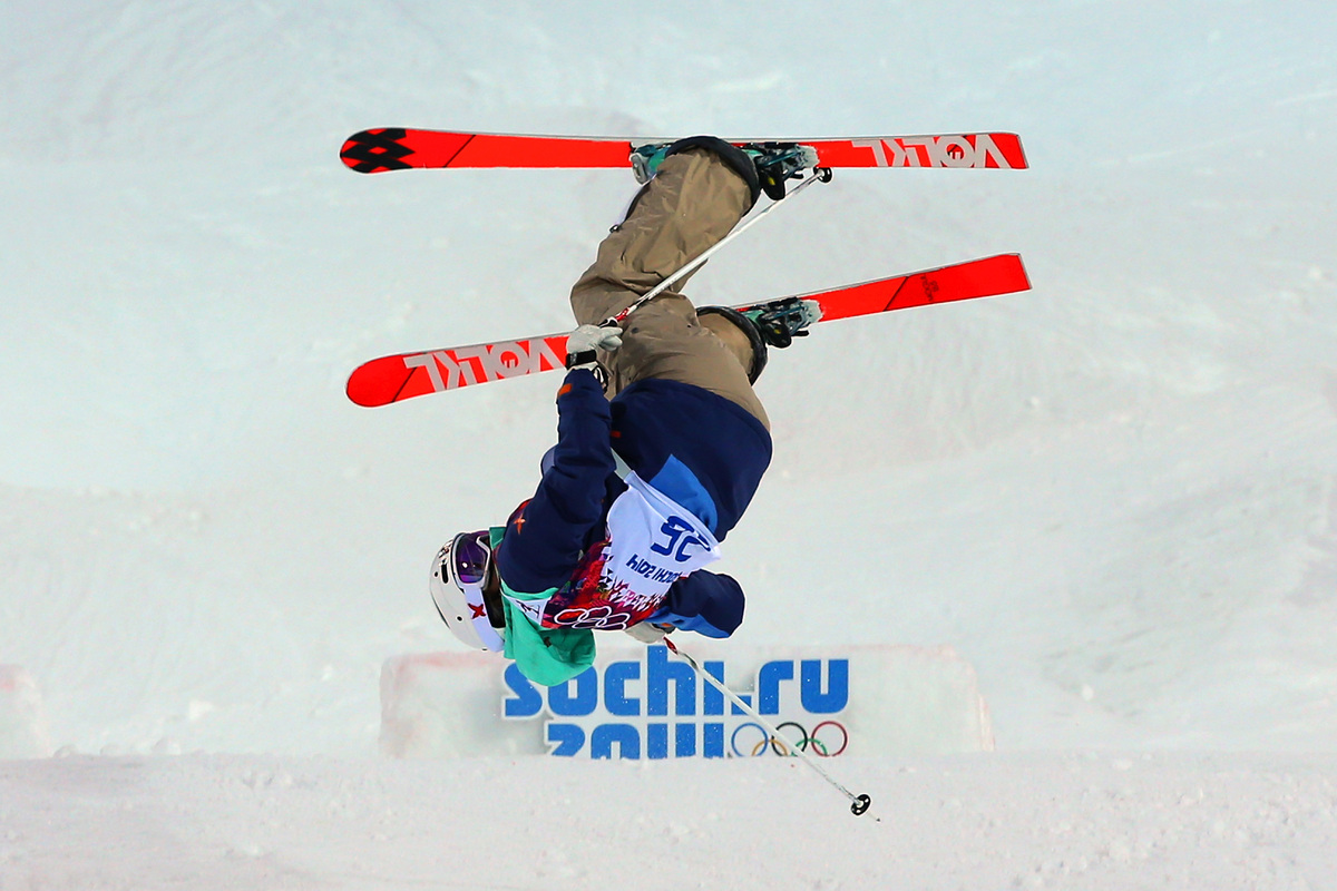 SOCHI, RUSSIA - FEBRUARY 08: Hedvig Wessel of Norway crashes out in the Ladies' Moguls Qualification during day 1 of the Soch