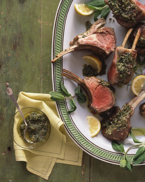"""<strong>Get the <a href=""""http://www.marthastewart.com/316138/rack-of-lamb-with-mint-and-capers"""" target=""""_blank"""">Rack of Lamb"""