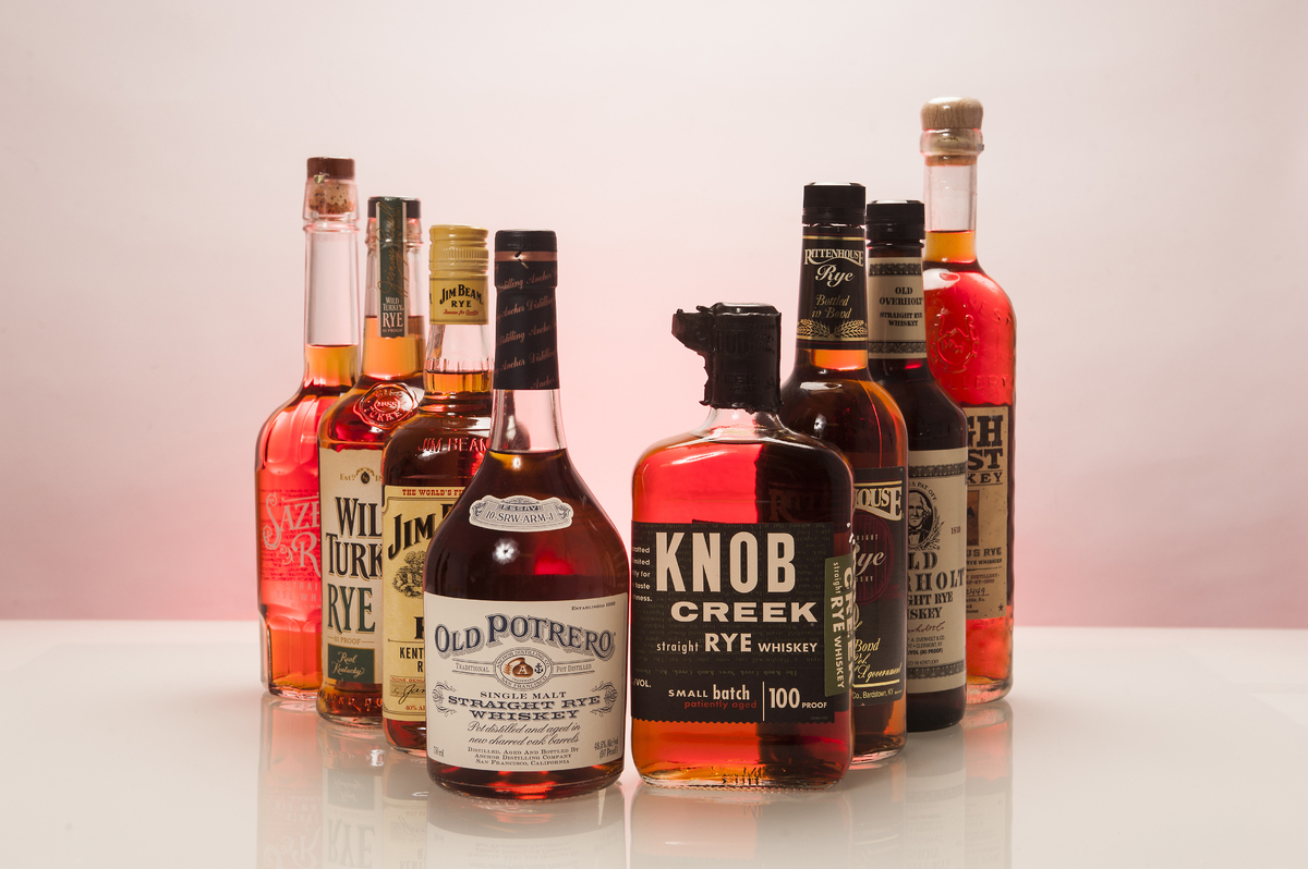 Here are the brands of rye we tested -- from left to right: Sazerac ($30), Wild Turkey 81 Proof ($23 ), Jim Beam ($19), Old P